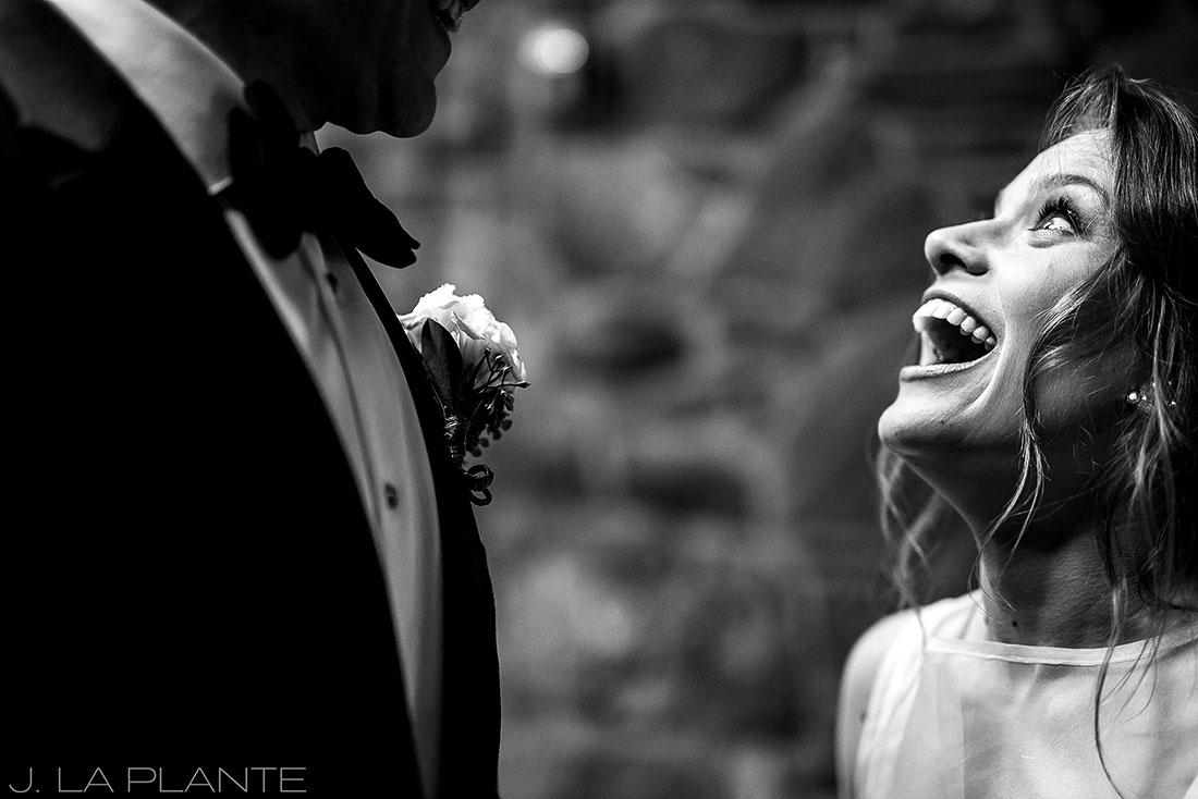 Bride looking at groom | Chief Hosa Lodge wedding | J. La Plante Photo | Denver Wedding Photographers