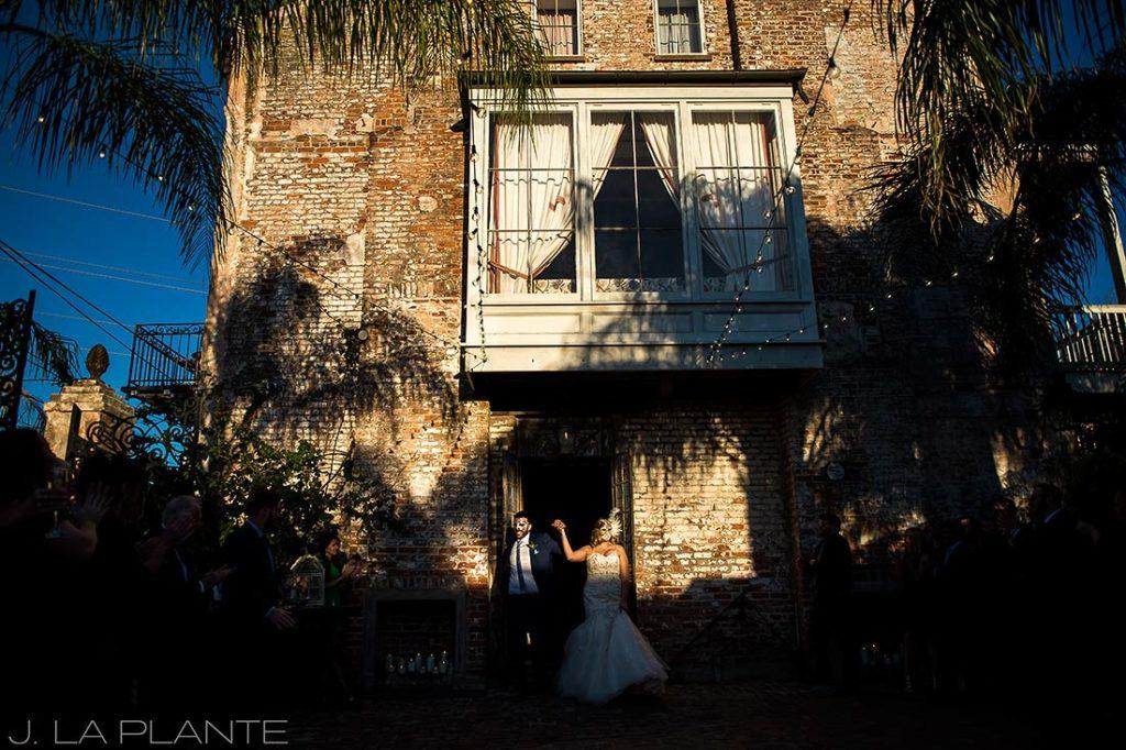 Bride and groom Mardi Gras masks | Race & Religious Wedding | New Orleans Destination Wedding Photography | J. La Plante Photo