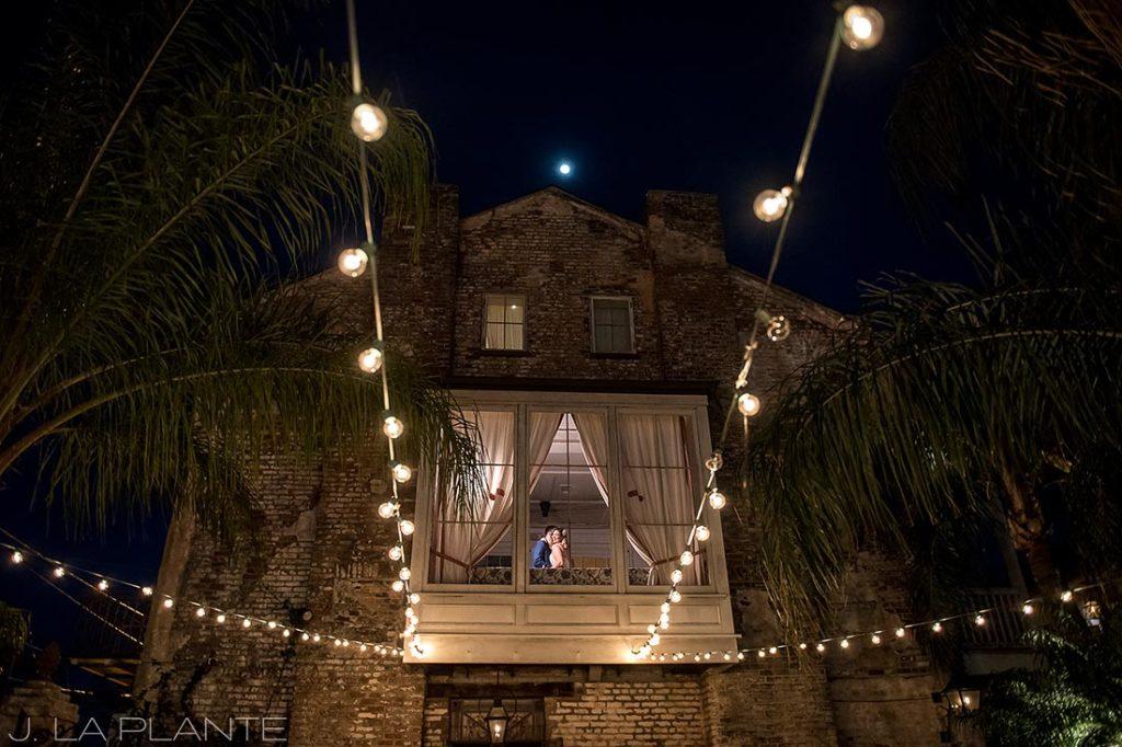 unique nighttime photo of bride and goom