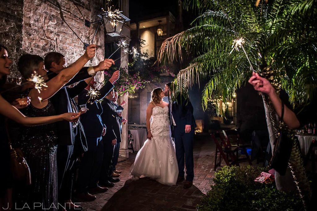 bride and groom sparkler send off