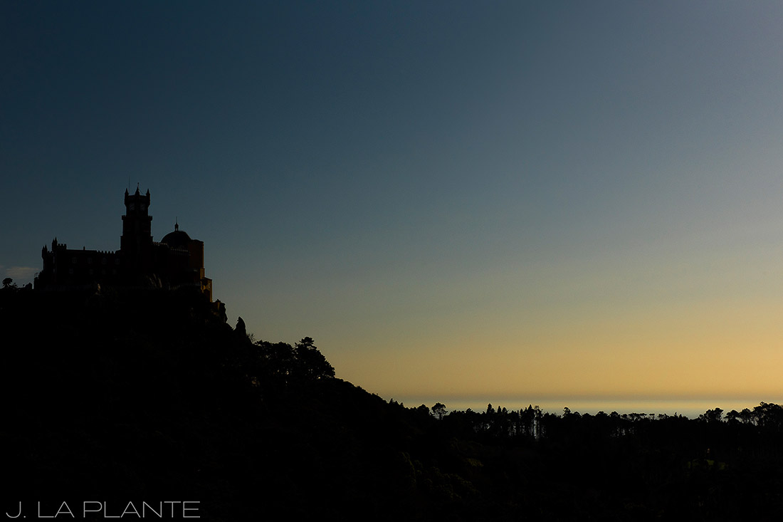 cool castle in sintra at sunset