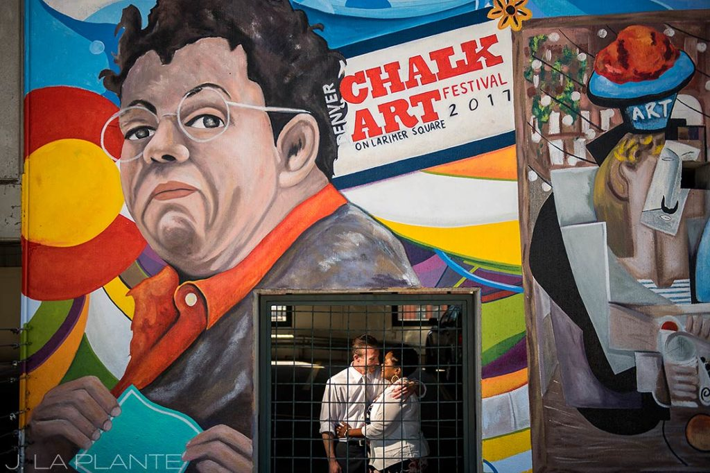 Denver Chalk Art Festival Engagement | Downtown Denver Engagement Photographer | J. La Plante Photo