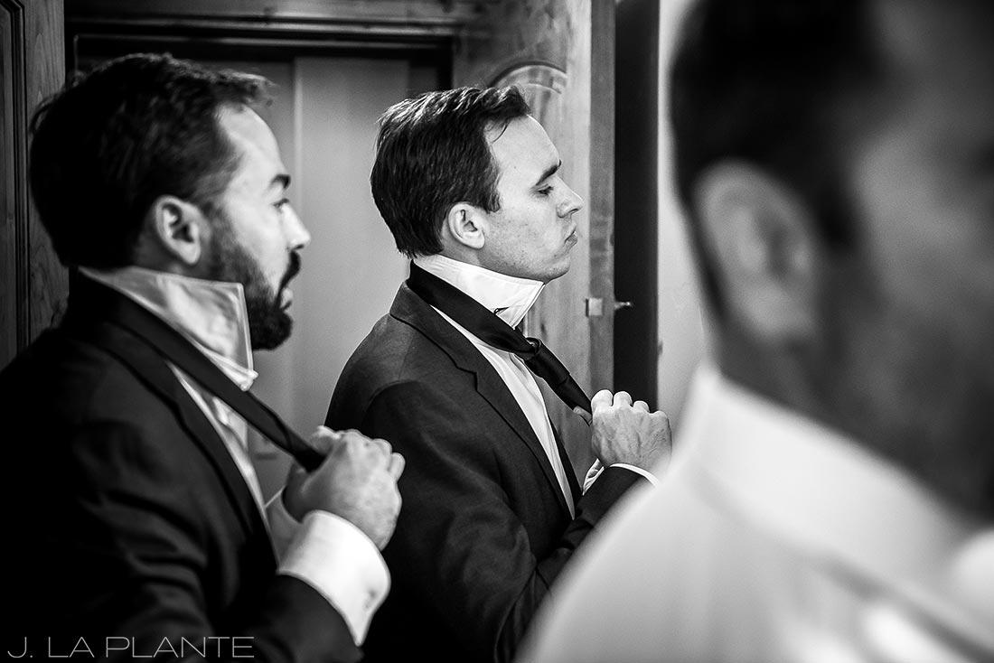 Sonnenalp Wedding | Groom and groomsmen getting ready | Vail wedding photographer | J La Plante Photo
