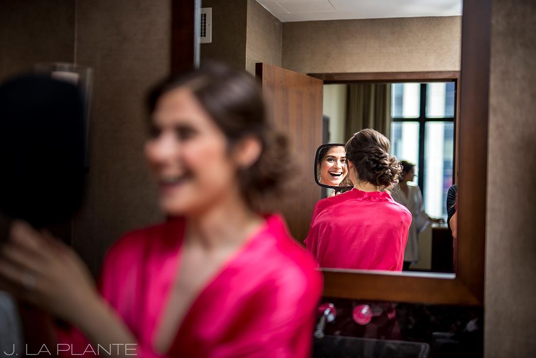 Grand Hyatt Denver Wedding   Bride looking in mirror   Same Sex Wedding Photographer   J La Plante Photo