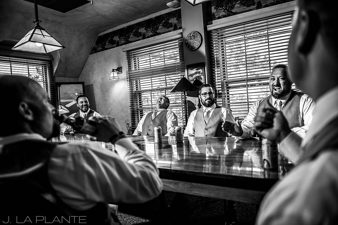 Boettcher Mansion wedding | Groomsmen drinking beer | J La Plante Photo | Denver Wedding Photographer