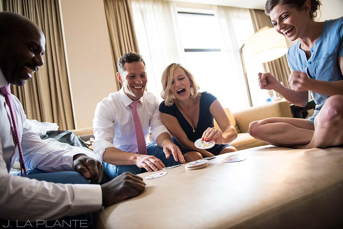 Grand Hyatt Denver Wedding   Wedding party card game   Same Sex Wedding Photographer   J La Plante Photo