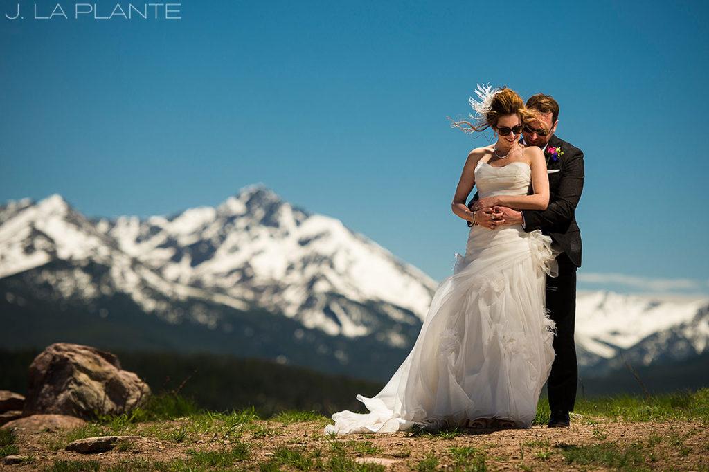 Vail Mountain Wedding | Bride and Groom on mountain | Vail wedding photographer | J La Plante Photo