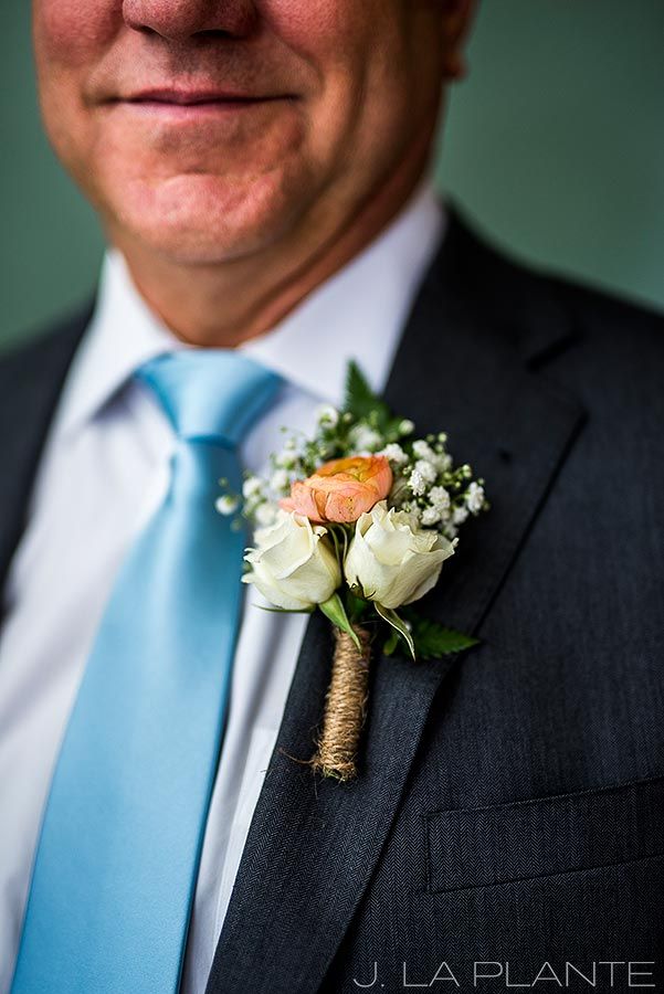 Boettcher Mansion wedding | Rose and twine boutonniere | J La Plante Photo | Denver Wedding Photographer