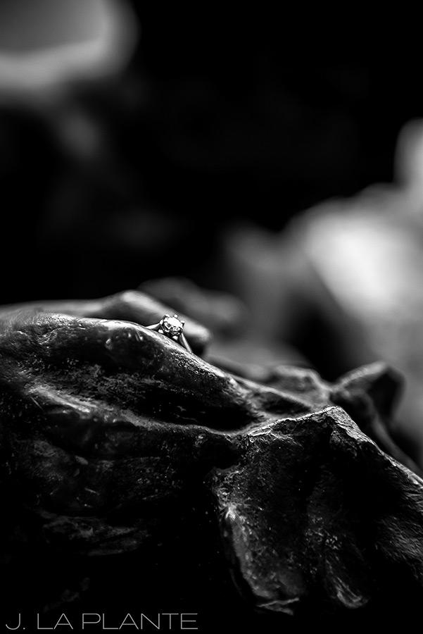Engagement ring on statue | Denver Engagement Photographer | J. La Plante Photo