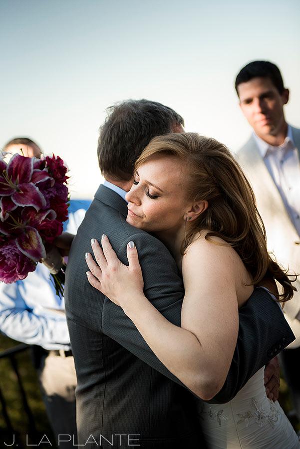 Mount Vernon Country Club Wedding   Bride hugging father   Denver wedding photographer   J La Plante Photo