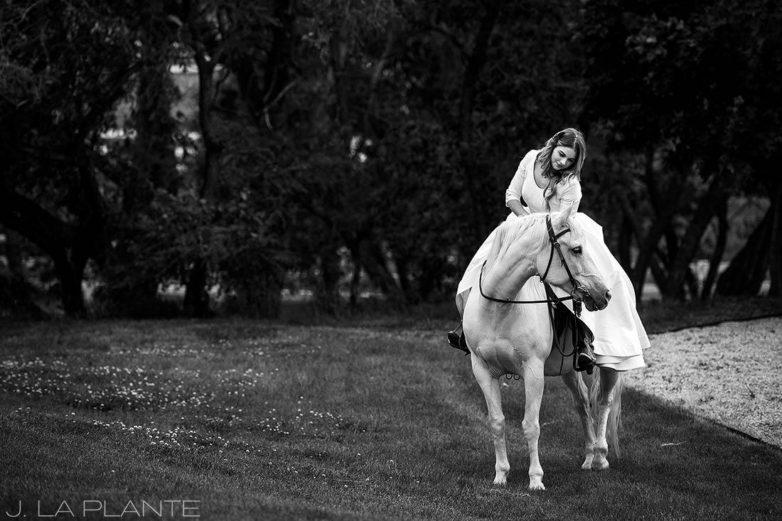 Bride on horse | Crooked Willow Farms Wedding | Denver Wedding Photographer | J La Plante Photo