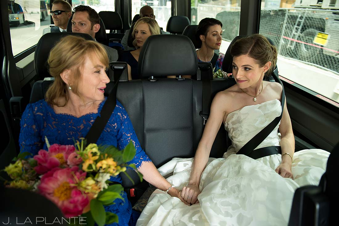 Grand Hyatt Denver Wedding   Bride in taxi   Same Sex Wedding Photographer   J La Plante Photo