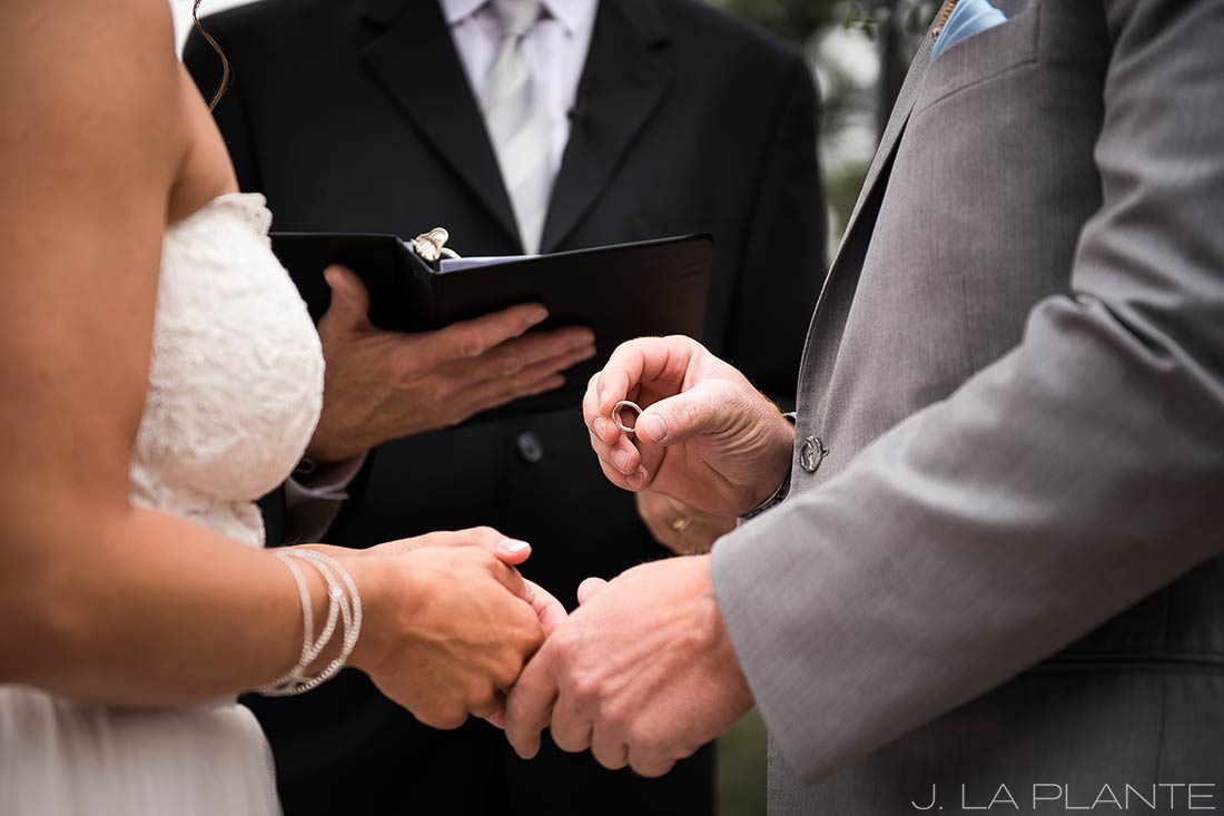 Boettcher Mansion wedding | Bride and groom exchanging rings | J La Plante Photo | Denver Wedding Photographer