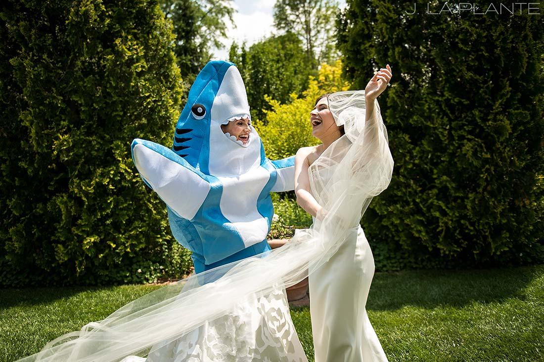 Denver Botanic Gardens Wedding   First look with shark   Same Sex Denver Wedding Photographer   J La Plante Photo