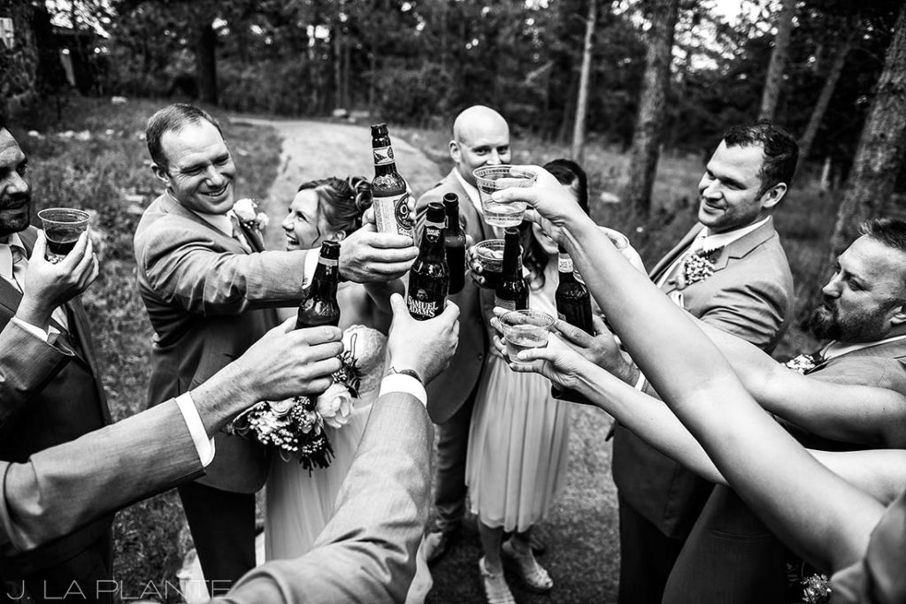 bridal party drinking beers