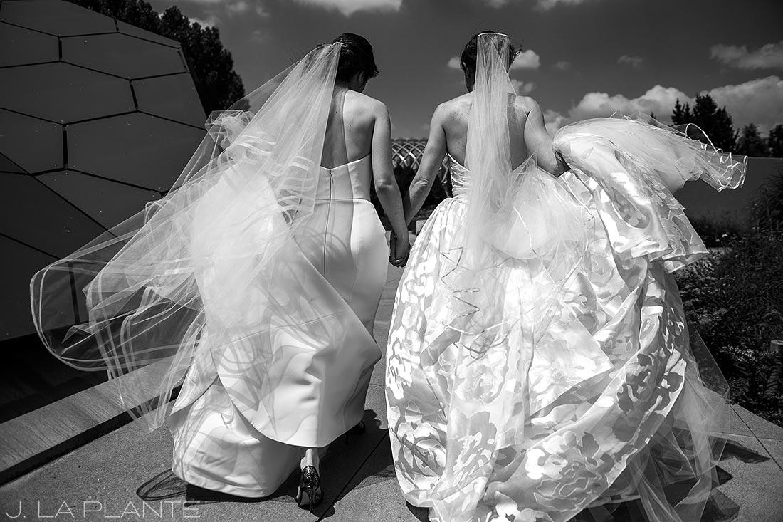 Denver Botanic Gardens Wedding   Brides holding hands   Same Sex Denver Wedding Photographer   J La Plante Photo