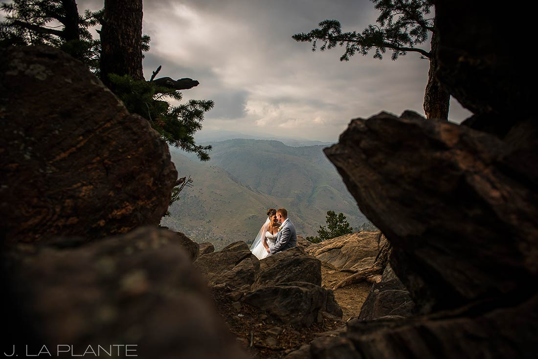Boettcher Mansion wedding | Bride and groom sunset photo in mountains | J La Plante Photo | Denver Wedding Photographer