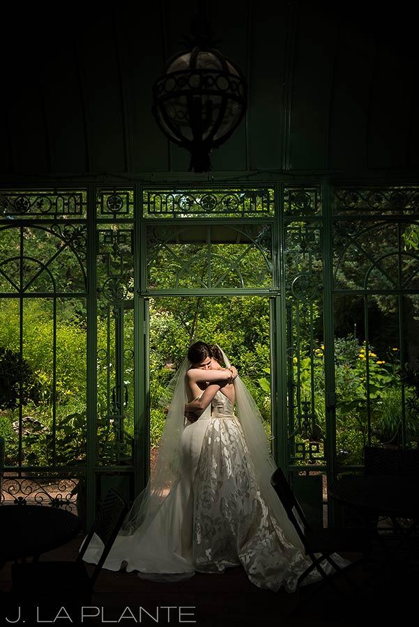 Denver Botanic Gardens Wedding   Photo of brides in garden   Same Sex Denver Wedding Photographer   J La Plante Photo