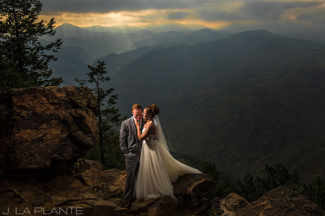Boettcher Mansion wedding | Amazing photo of bride and groom in mountains | J La Plante Photo | Denver Wedding Photographer