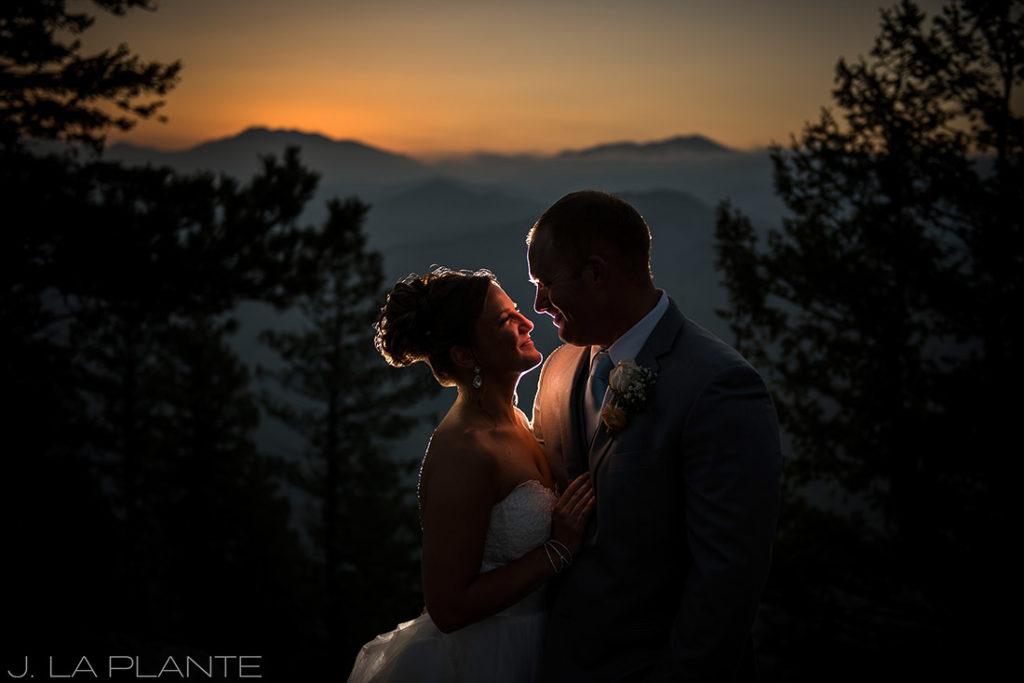 golden hour portrait of bride and groom