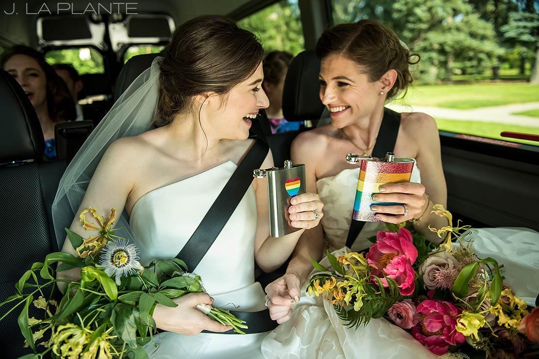 Grand Hyatt Denver Wedding   Brides with flasks   Same Sex Wedding Photographer   J La Plante Photo