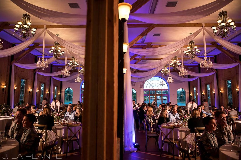 Wedding reception with uplighting   Crooked Willow Farms Wedding   Denver Wedding Photographer   J La Plante Photo