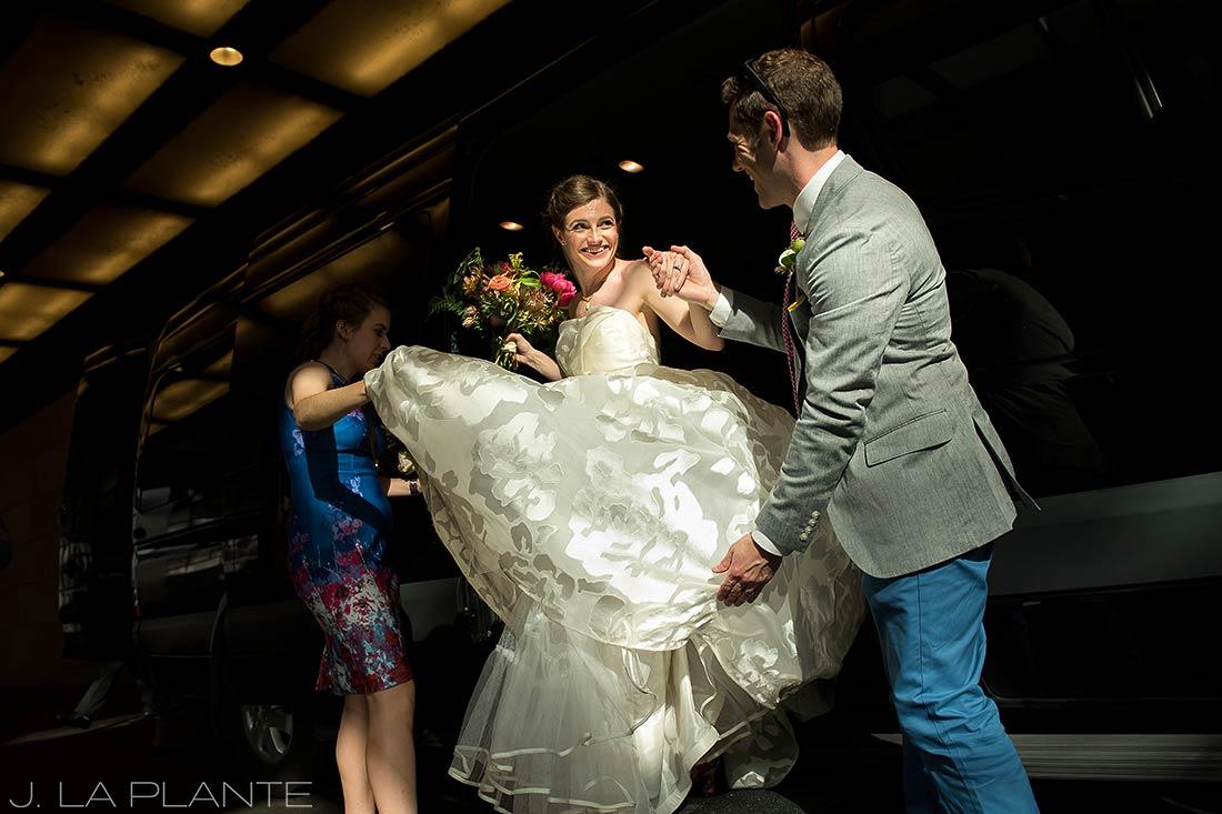 Grand Hyatt Denver Wedding   Bride getting out of limo   Same Sex Wedding Photographer   J La Plante Photo