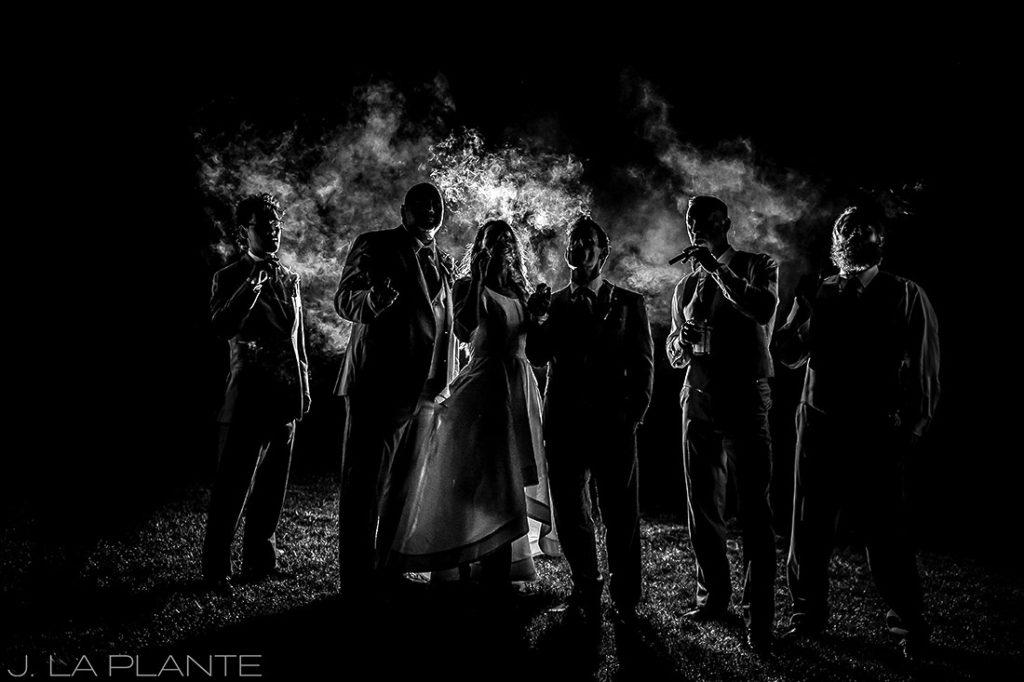 wedding party smoking cigars at cigar bar