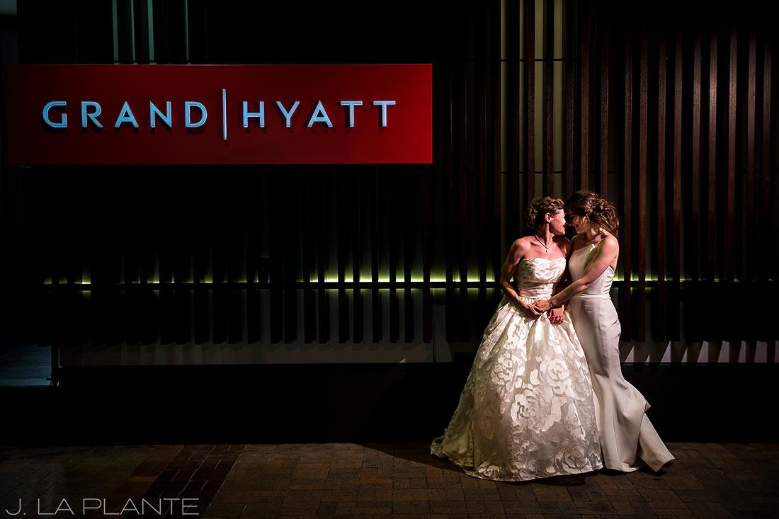 Grand Hyatt Denver Wedding   Nighttime wedding photo   Same Sex Wedding Photographer   J La Plante Photo