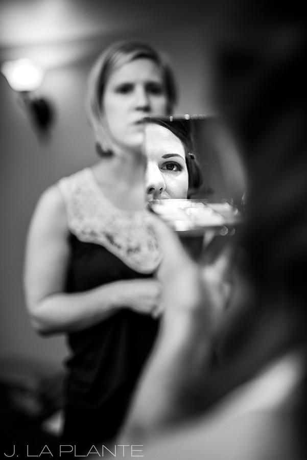 Edgewood Inn Wedding   Colorado Springs Wedding Photographer   Bride getting makeup done   J La Plante Photo
