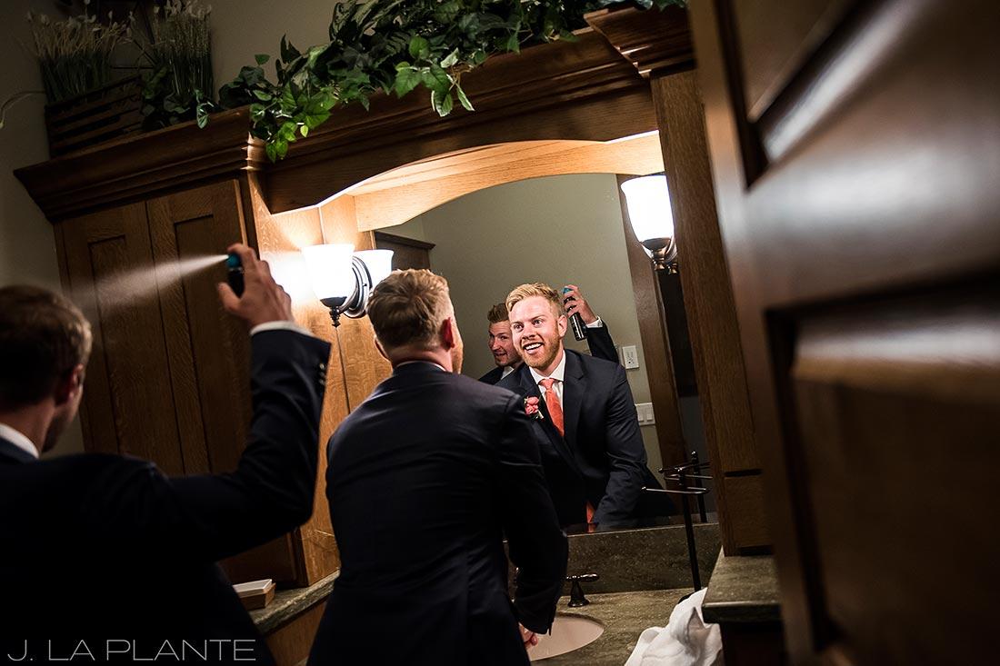 Edgewood Inn Wedding   Colorado Springs Wedding Photographer   Groom getting ready   J La Plante Photo