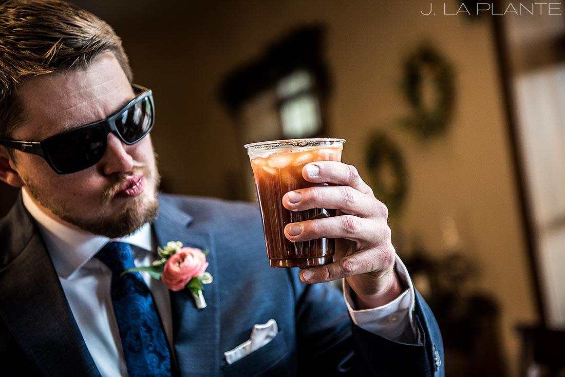 Edgewood Inn Wedding   Colorado Springs Wedding Photographer   Groomsmen drinking   J La Plante Photo