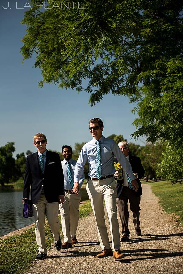 Washington Park Wedding | Groom walking to ceremony | Denver wedding photographer | J La Plante Photo