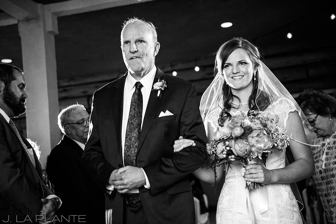 Edgewood Inn Wedding   Colorado Springs Wedding Photographer   Father walking bride down aisle   J La Plante Photo