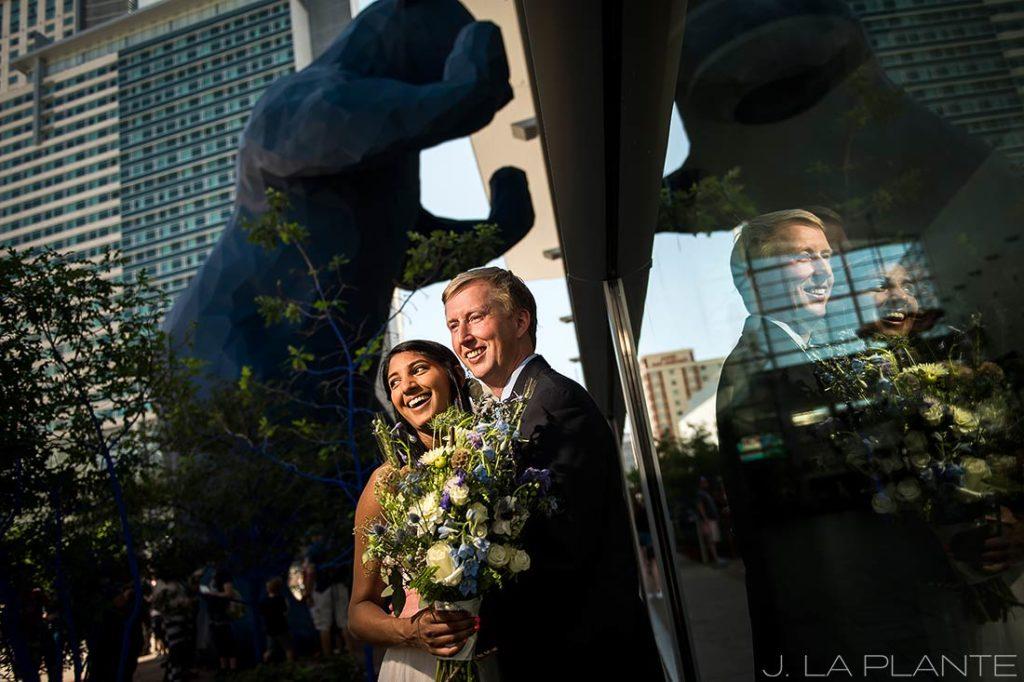 History Colorado Wedding   Bride and groom with blue bear   Denver wedding photographer   J La Plante Photo