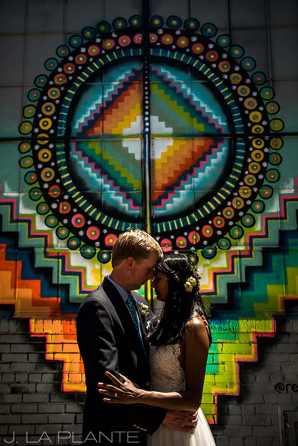 Washington Park Wedding | Bride and groom in front of street art | Denver wedding photographer | J La Plante Photo