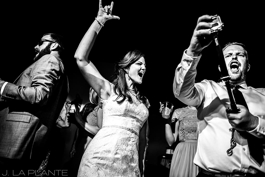Edgewood Inn Wedding   Colorado Springs Wedding Photographer   Bride dancing   J La Plante Photo
