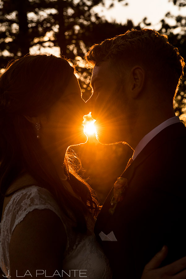 Edgewood Inn Wedding   Colorado Springs Wedding Photographer   Bride and groom at sunset   J La Plante Photo