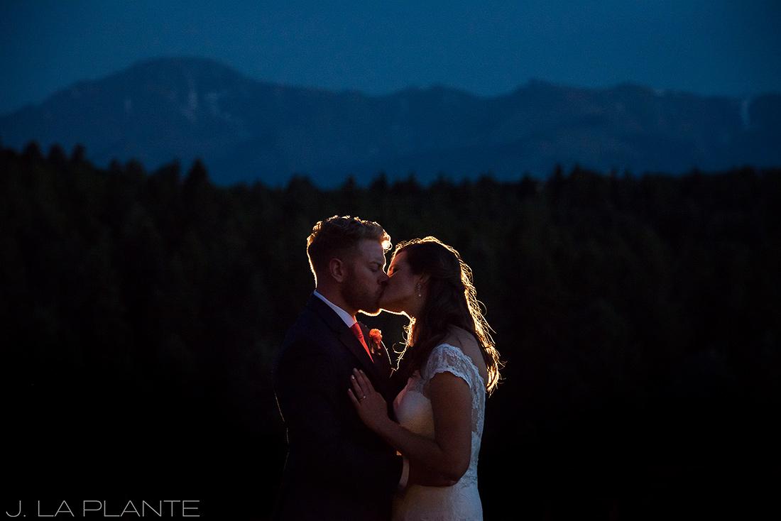 Edgewood Inn Wedding   Colorado Springs Wedding Photographer   Nighttime photo with mountains   J La Plante Photo