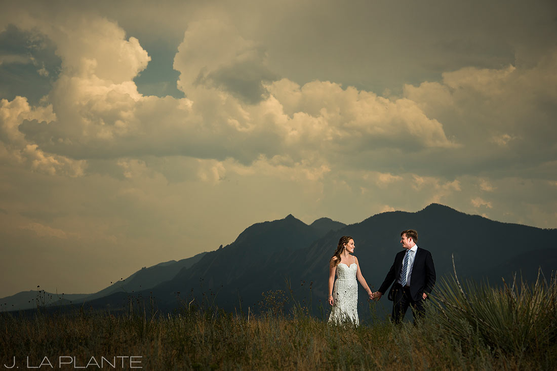 Greenbriar Inn wedding | Bride and groom with Flatirons | Boulder wedding photographer | J La Plante Photo