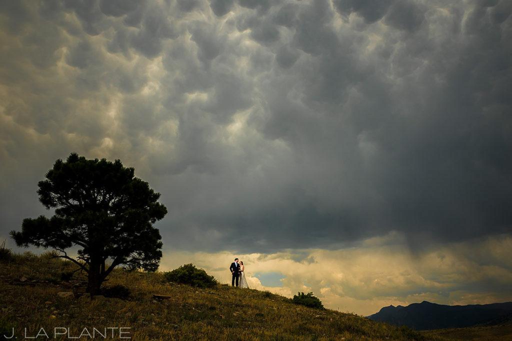 Greenbriar Inn wedding | Bride and groom with Flatirons | Boulder wedding photographer | J La Plante Photo