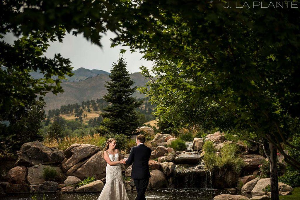 Greenbriar Inn wedding | Bride and groom near waterfall | Boulder wedding photographer | J La Plante Photo