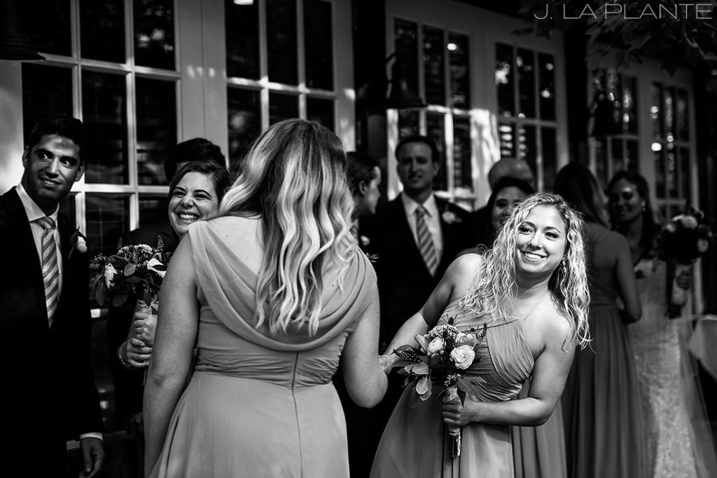 Greenbriar Inn wedding | Bridesmaid peeking out | Boulder wedding photographer | J La Plante Photo