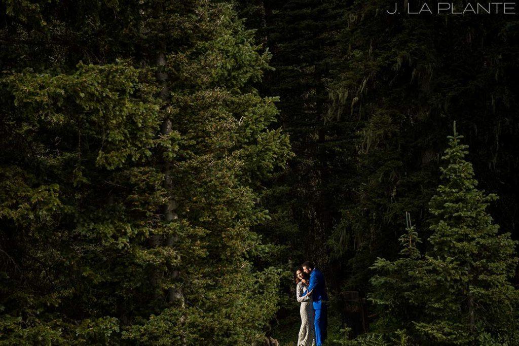 Purgatory Resort wedding | Bride and groom in forest | Colorado wedding photographer | J La Plante Photo