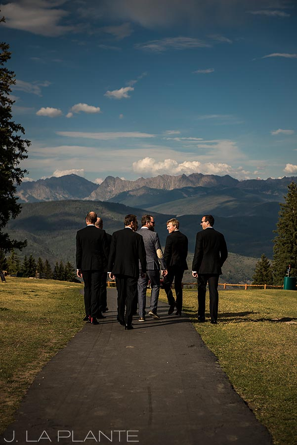 Beaver Creek Wedding deck ceremony | Groom and groomsmen before ceremony | Beaver Creek wedding photographer | J La Plante Photo