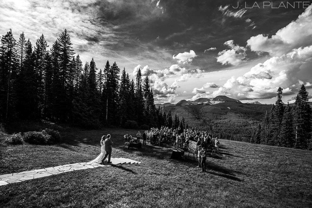 Purgatory Resort wedding | Bride walking down aisle | Colorado wedding photographer | J La Plante Photo