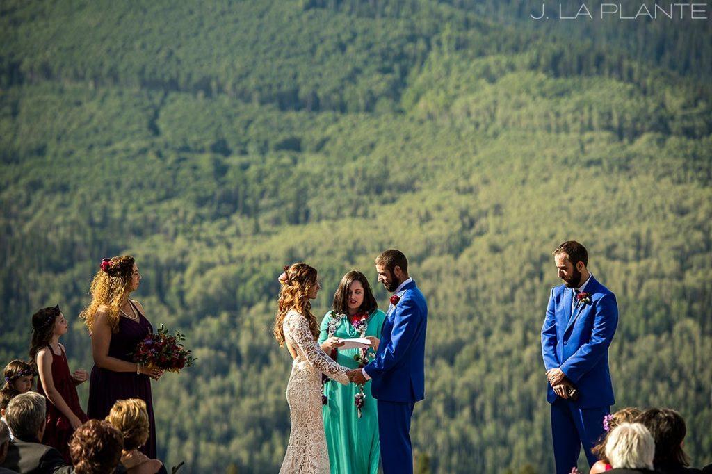 rustic mountain wedding ceremony in colorado