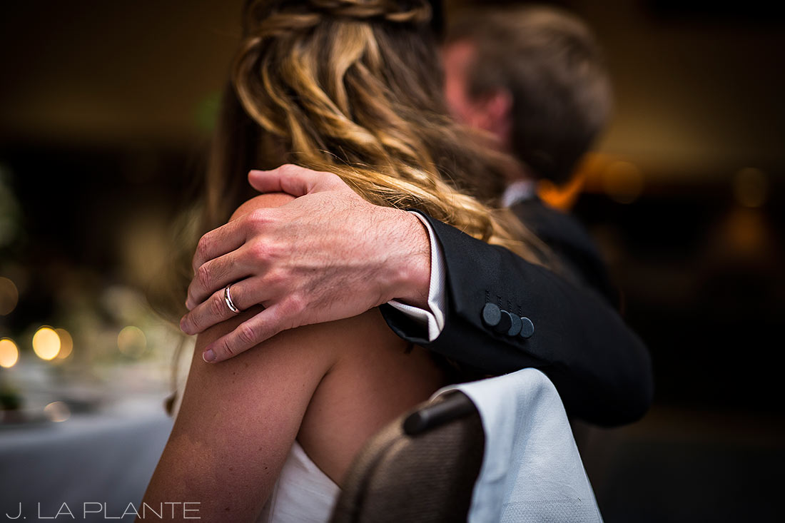 Park Hyatt Wedding | Bride and groom reacting to toasts | Beaver Creek wedding photographer | J La Plante Photo