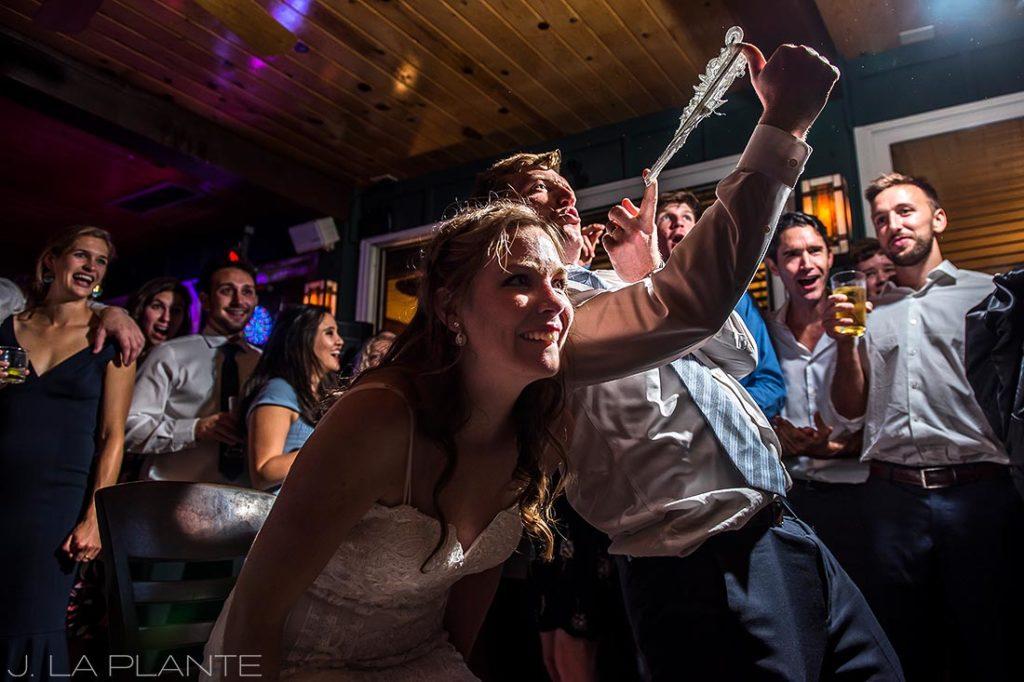 Greenbriar Inn wedding | Garter toss | Boulder wedding photographer | J La Plante Photo