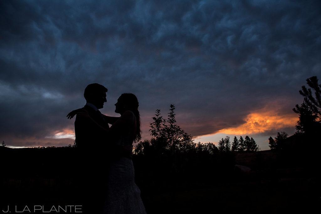 sunset wedding photo of bride and groom